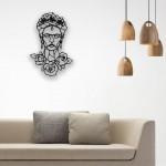 Geometrik Desenli Frida Kahlo Figürlü Ahşap Duvar Panosu