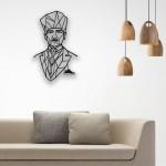 Geometrik Desenli Atatürk Portresi 2 Ahşap Duvar Panosu