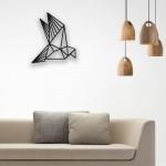 Origami Kanat Çırpan Kuş Desenli Ahşap Duvar Panosu