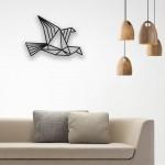 Origami Uçan Kuş Desenli Ahşap Duvar Panosu