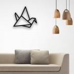 Origami Turna Kuşu Desenli Ahşap Duvar Panosu