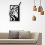 Unicorn Desenli Ahşap Duvar Panosu