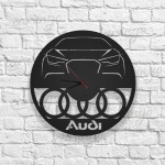 Audi Logolu Ahşap Duvar Saati