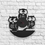 Baykuş Figürlü Ahşap Duvar Saati