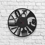 Berber Shop Figürlü Ahşap Duvar Saati