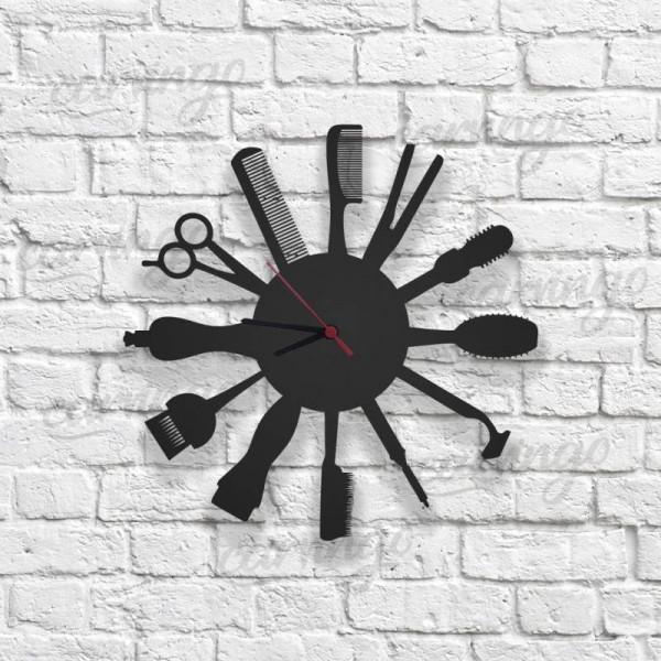 Kuaför Ekipmanları Figürlü Ahşap Duvar Saati