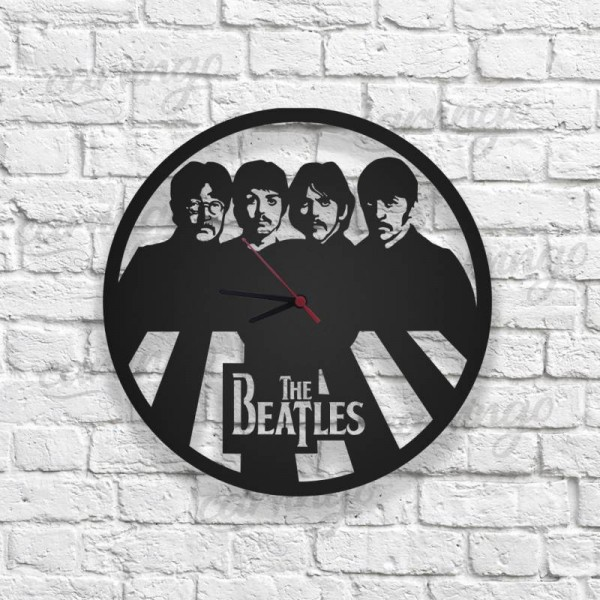 The Beatles Figürlü Ahşap Duvar Saati