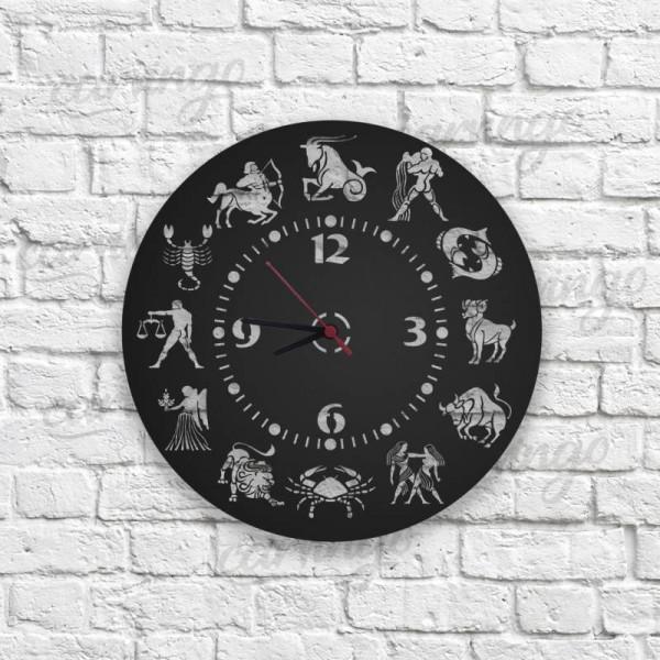 Astroloji Figürlü Ahşap Duvar Saati
