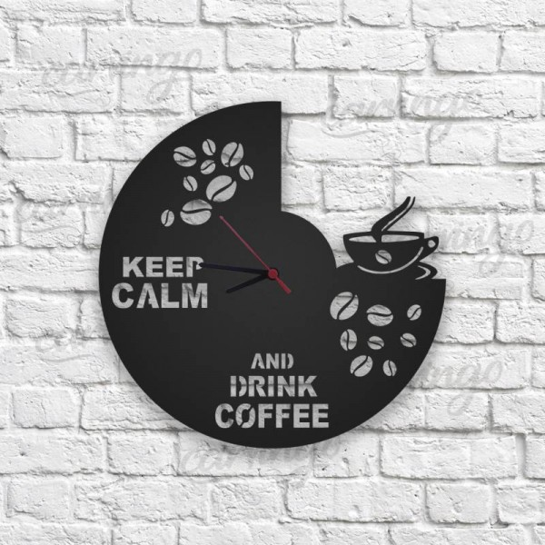 Kahve Figürlü Ahşap Duvar Saati