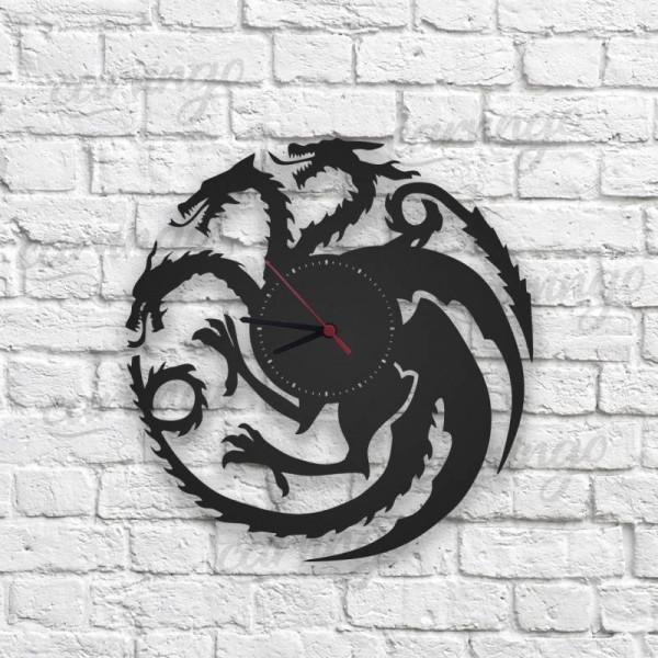 Targaryen Figürlü Ahşap Duvar Saati