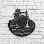 Harley Davidson Logolu Ahşap Duvar Saati