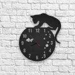 Kedi ve Balık Figürlü Ahşap Duvar Saati