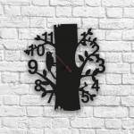 Ağaçkakan Figürlü Ahşap Duvar Saati