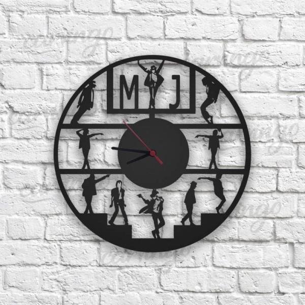 Michael Jackson Figürlü Ahşap Duvar Saati