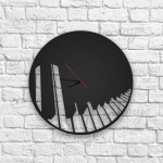 Piano Figürlü Ahşap Duvar Saati
