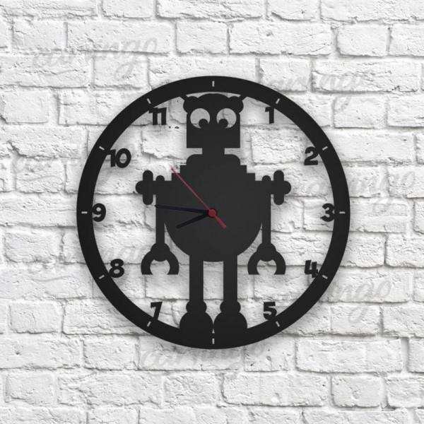 Robot Figürlü Ahşap Duvar Saati