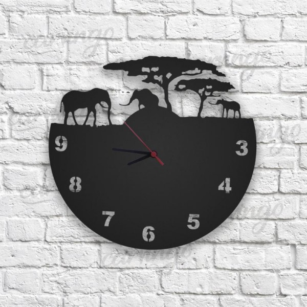 Safari Figürlü Ahşap Duvar Saati