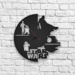 Star Wars Figürlü Ahşap Duvar Saati