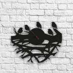 Yavru Kuşlar Figürlü Ahşap Duvar Saati