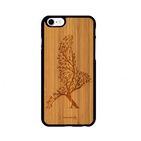Kuş Ağacı Figürlü iPhone Ahşap Telefon Kılıfı