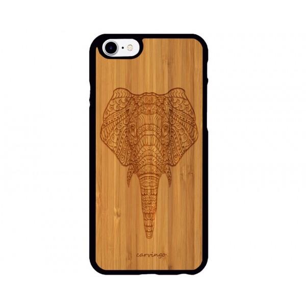 Fil Figürlü iPhone Ahşap Telefon Kılıfı