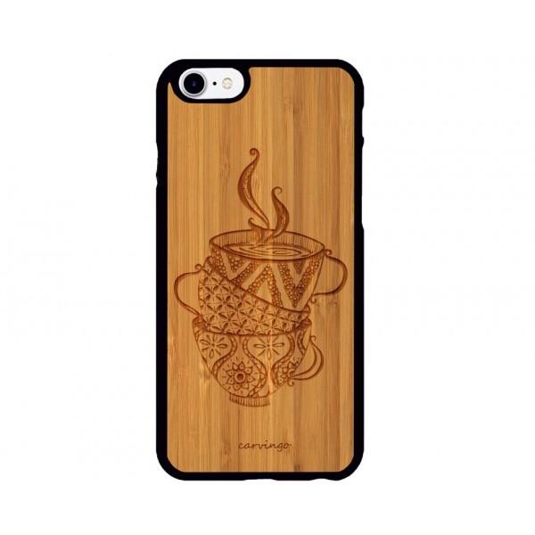 Fincan Desenli iPhone Ahşap Telefon Kılıfı
