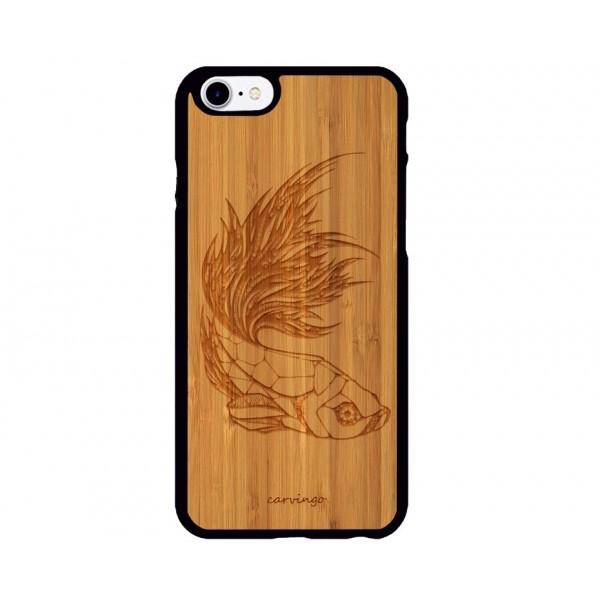 Geometrik Balık Figürlü iPhone Ahşap Telefon Kılıfı