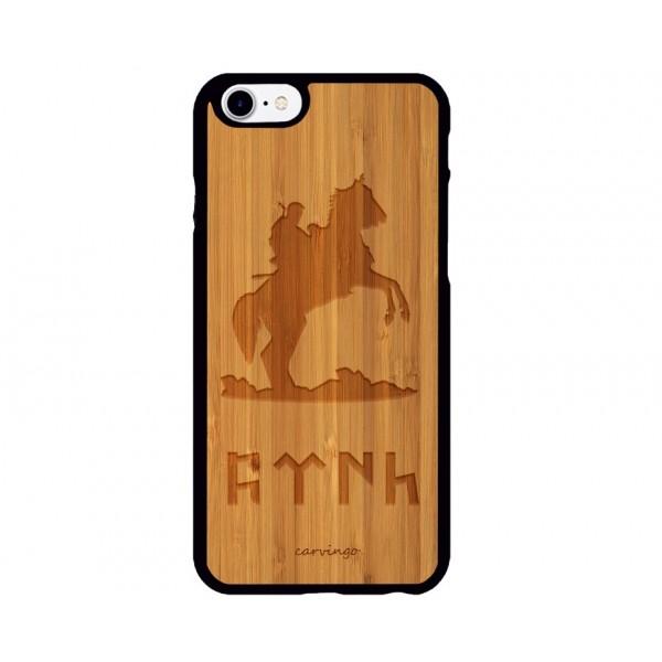 Göktürk Figürlü iPhone Ahşap Telefon Kılıfı