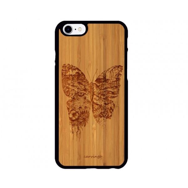 Kelebek Figürlü iPhone Ahşap Telefon Kılıfı