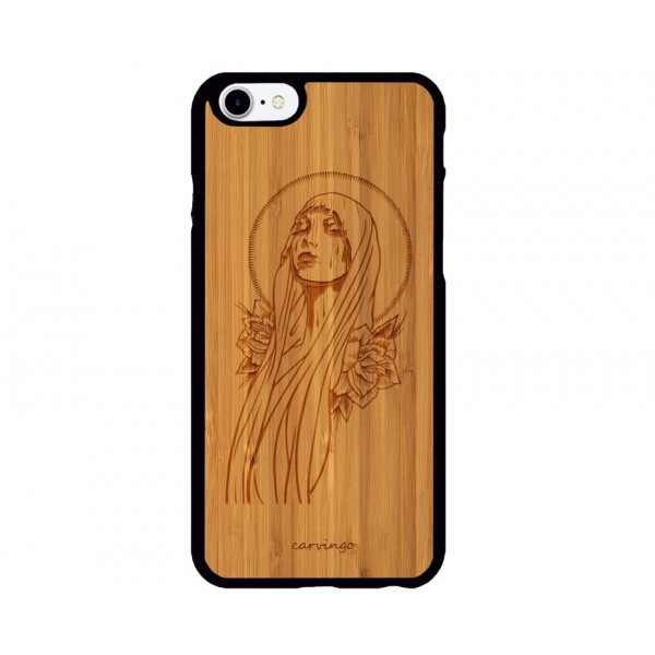 Meryem Ana Desenli iPhone Ahşap Telefon Kılıfı