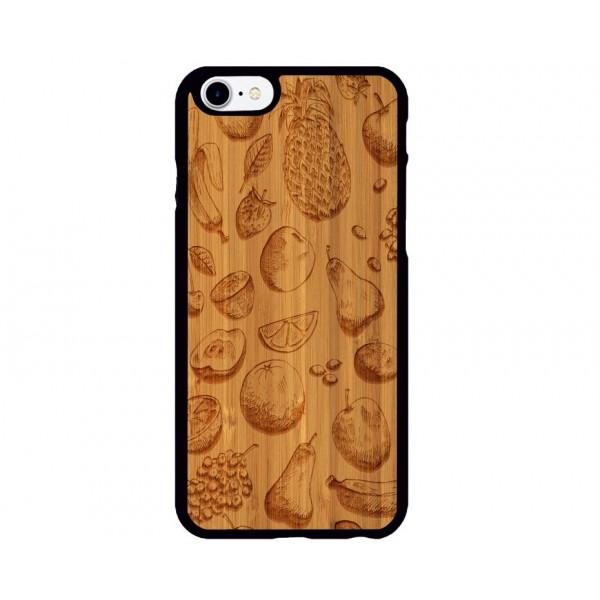 Meyve Desenli iPhone Ahşap Telefon Kılıfı