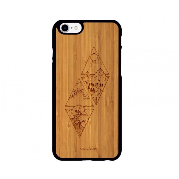 Minimal Manzara Desenli iPhone Ahşap Telefon Kılıfı