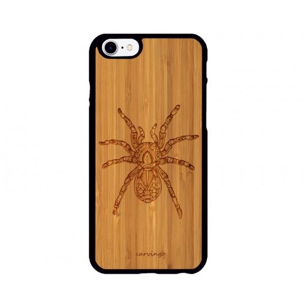 Örümcek Figürlü iPhone Ahşap Telefon Kılıfı
