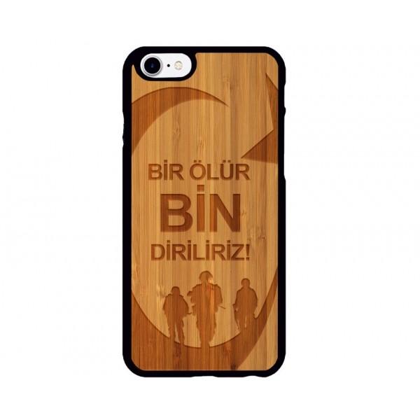 Bir Ölür Bin Diriliriz Figürlü iPhone Ahşap Telefon Kılıfı