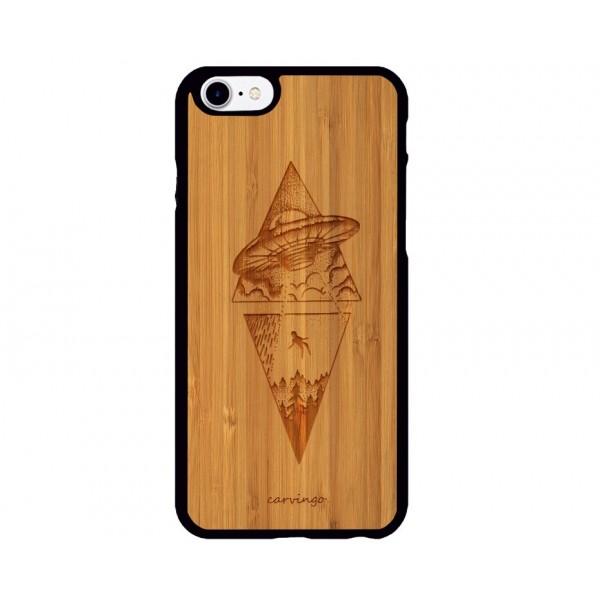 Uzaylı Figürlü iPhone Ahşap Telefon Kılıfı