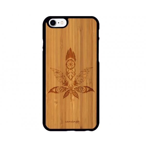 Weed Figürlü iPhone Ahşap Telefon Kılıfı