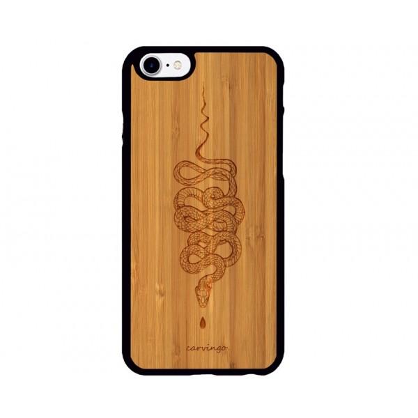 Yılan Desenli iPhone Ahşap Telefon Kılıfı
