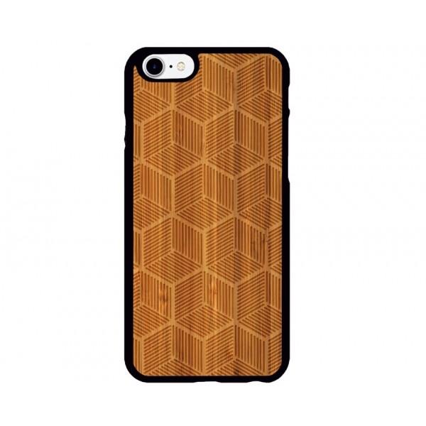 Geometrik Küp Desenli iPhone Ahşap Telefon Kılıfı