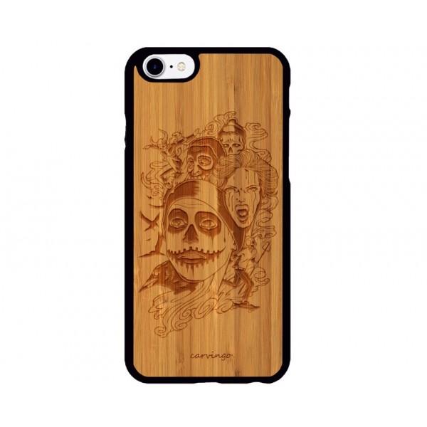 Halloween Desenli iPhone Ahşap Telefon Kılıfı