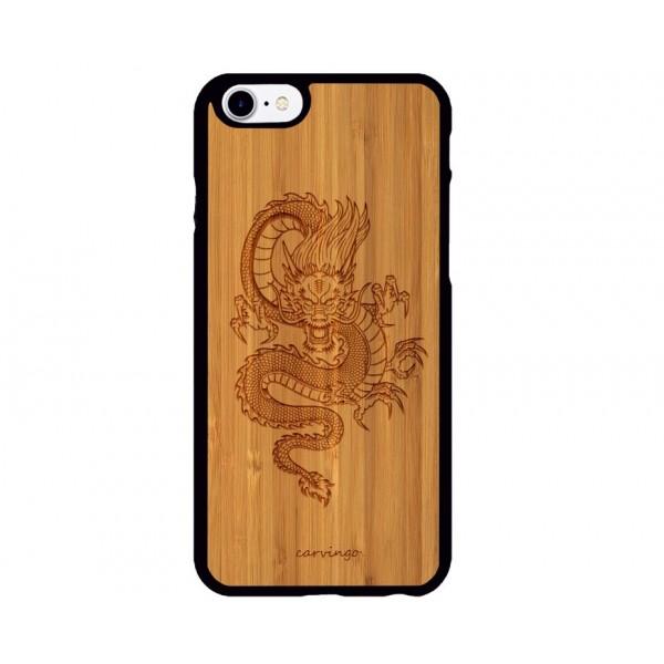 Mitolojik Ejderha Figürlü iPhone Ahşap Telefon Kılıfı