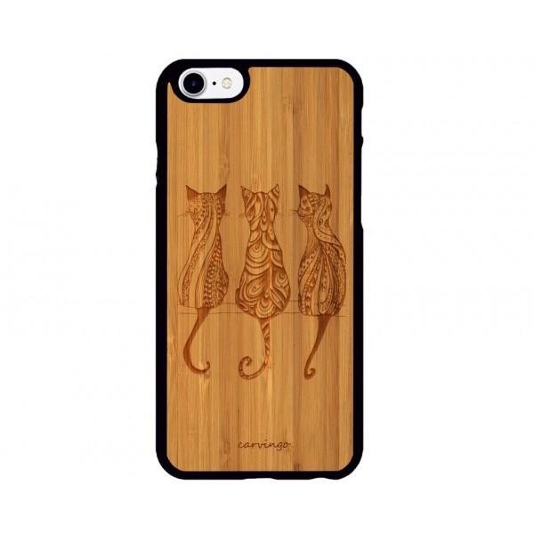 Kediler Figürlü iPhone Ahşap Telefon Kılıfı