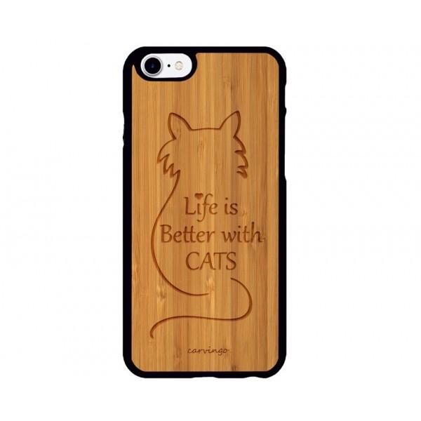 With Cats Figürlü iPhone Ahşap Telefon Kılıfı