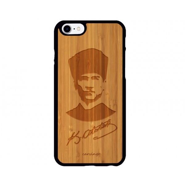 Atatürk Portre 6 iPhone Ahşap Telefon Kılıfı