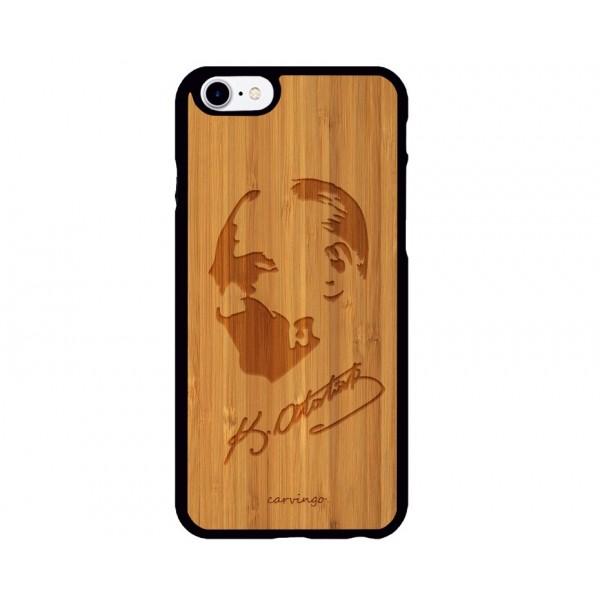 Atatürk Portre 7 iPhone Ahşap Telefon Kılıfı