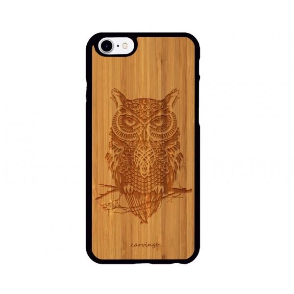 Baykuş Figürlü iPhone Ahşap Telefon Kılıfı