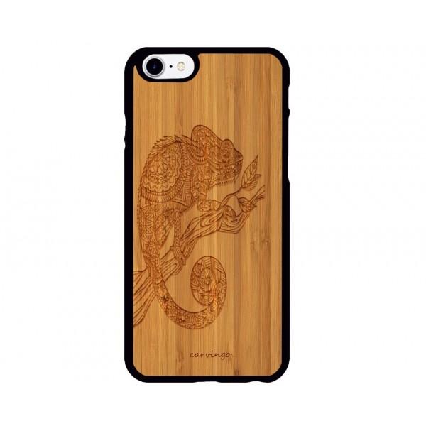Bukalemun Figürlü iPhone Ahşap Telefon Kılıfı