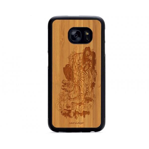 Kaplan Manzara Desenli Samsung için Ahşap Telefon Kılıfı