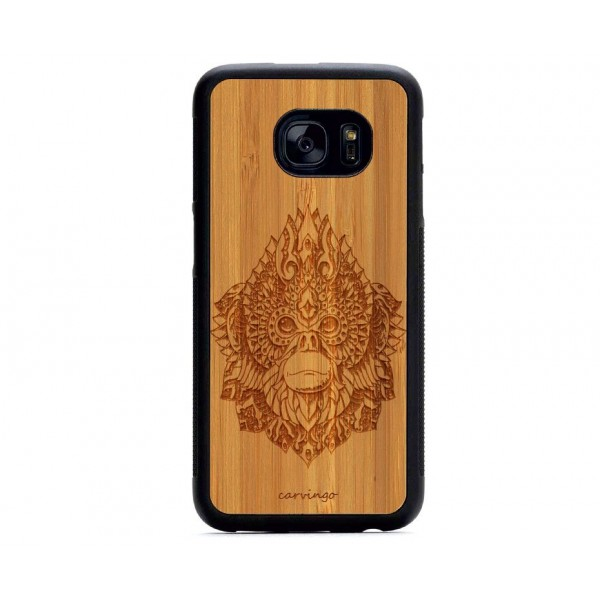 Maymun Kral Figürlü Samsung için Ahşap Telefon Kılıfı