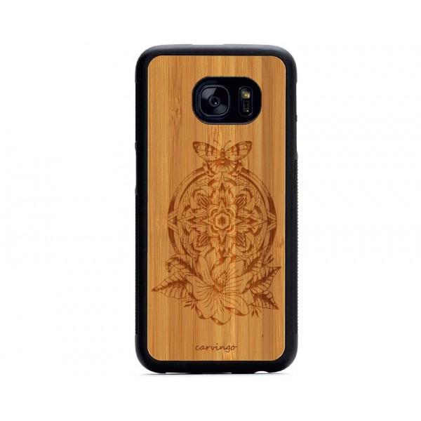 Mandala Kelebek Desenli Samsung için Ahşap Telefon Kılıfı
