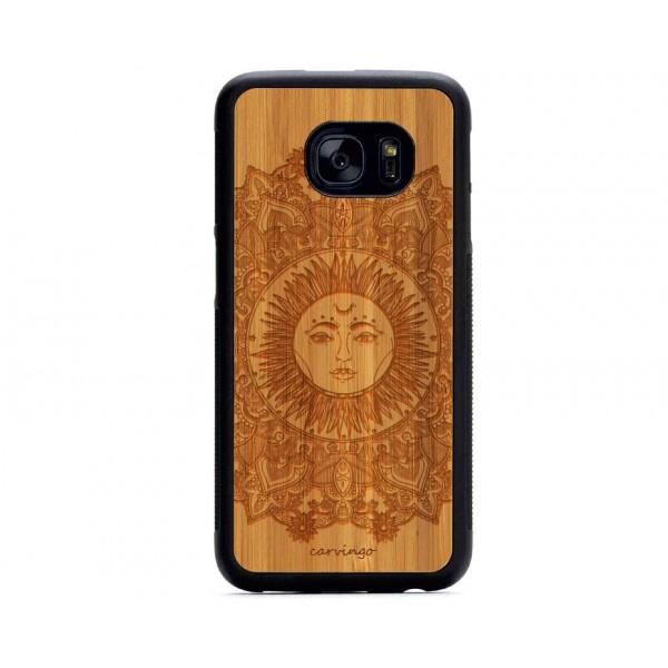 Etnik Güneş Desenli Samsung için Ahşap Telefon Kılıfı
